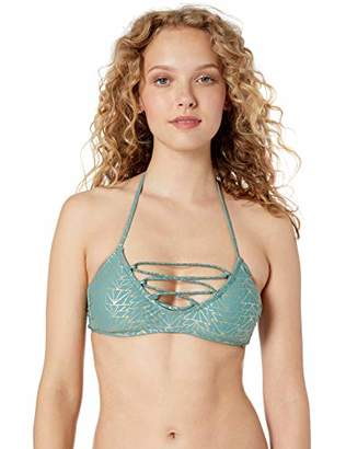 Hot Water Junior's Bralette Bikini Top Swimsuit Laced Front and Halter Neck