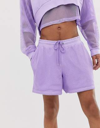 Asos Design DESIGN co-ord jersey festival shorts with mesh overlay in purple