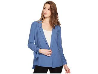 1 STATE 1.STATE Notched Lapel Soft Jacket with Sleeve Ties Women's Coat