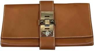 Hermes Medor Camel Leather Clutch Bag