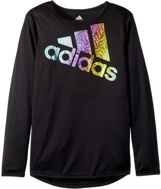 adidas Kids Long Sleeve Colors Ignite Tee Girl's Clothing