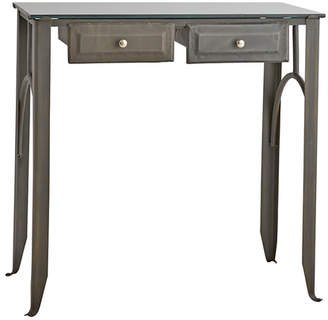 Rejuvenation Stamped Steel Doctor's Desk w/ Glass Top