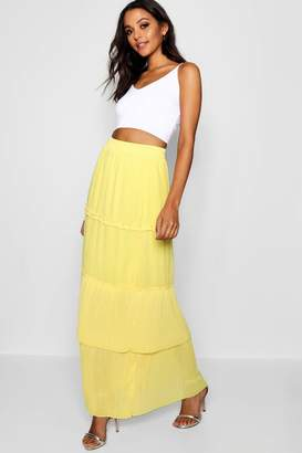 boohoo Pleated & Tiered Chiffon Maxi Skirt
