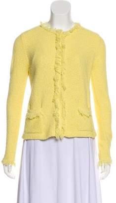 Prada Fringe-Trimmed Knit Jacket