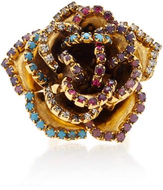 Erickson Beamon Vermeil and Swarovski Crystal Bouquet Ring