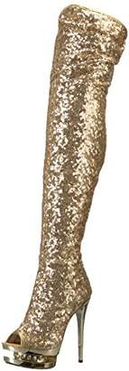 Pleaser USA Women's BLONDIE-R-3011 Over The Knee Boot Sequins/Gold Chrome