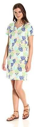 Caribbean Joe Women's Short Sleeve Sweetheart Neckline Printed Cotton Dress