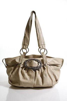 Designer Renato Angi Beige Leather Zipper Top Double Strap Shoulder Handbag