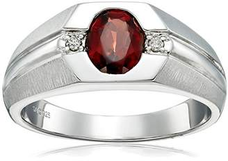 Gents Men's Sterling Silver Garnet and Diamond Ring (0.04cttw