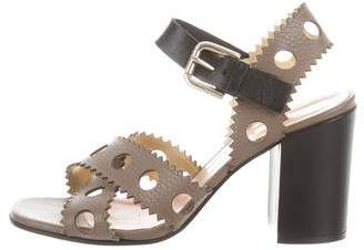 Pollini Laser Cut Ankle Strap Sandals