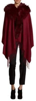 Textured Wool Cape with Fox Fur