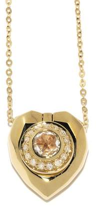 Jordan Askill Pavé Diamond Heart Locket Necklace - Yellow Gold