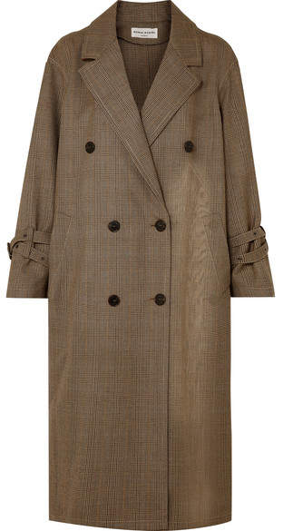 Oversized Prince Of Wales Wool Trench Coat - Brown