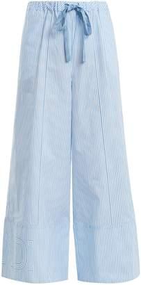 Fendi Wide-leg striped cotton-poplin trousers