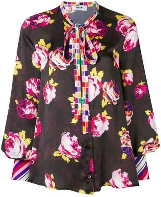 MSGM contrast floral print blouse