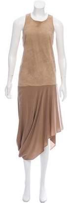 Brunello Cucinelli Suede-Trimmed Silk Dress