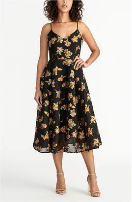 Rachel Roy Sleeveless Printed Jacquard Fit And Flare Dress