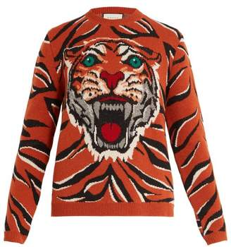 Gucci Tiger Intarsia Knit Wool Sweater - Mens - Orange Multi