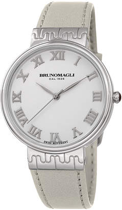 Bruno Magli 36mm Isabella Leather Watch, White/Silver