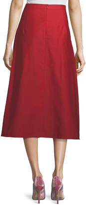 Atlantique Ascoli Ankle-Length A-Line Cotton-Linen Midi Skirt
