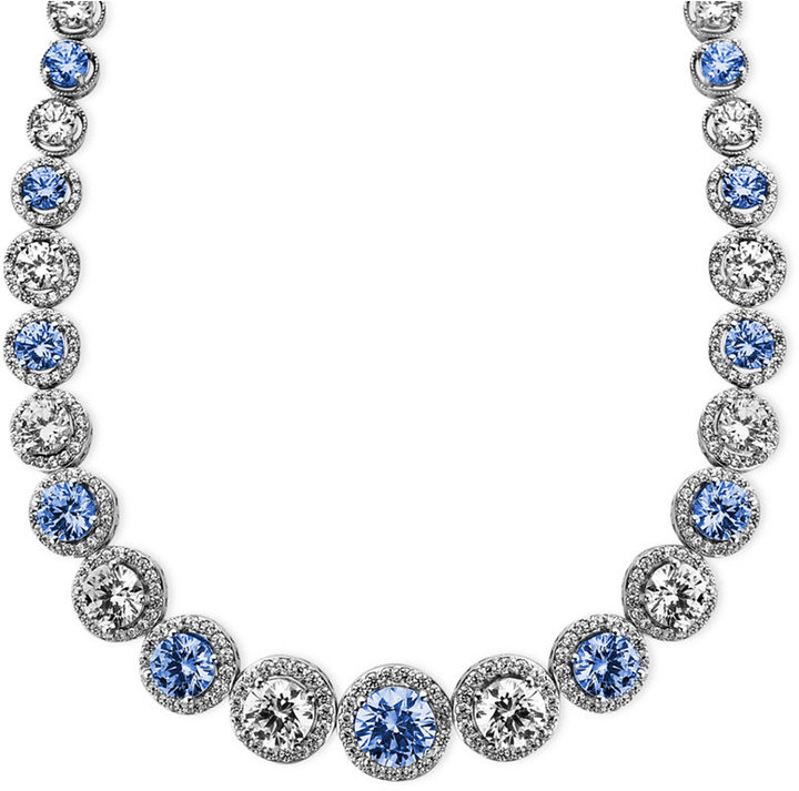 Arabella Sterling Silver Necklace, Blue and White Swarovski Zirconia Necklace (54 ct. t.w.)