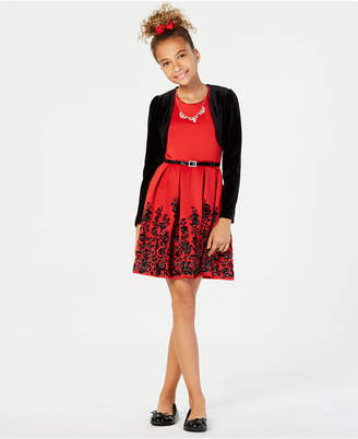 Beautees Big Girls 3-Pc. Velvet Shrug, Flocked Skater Dress & Necklace Set