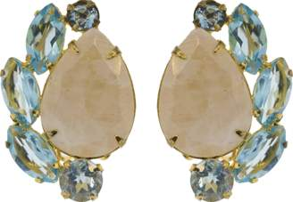 Bounkit JEWELRY Moonstone Clip Earrings