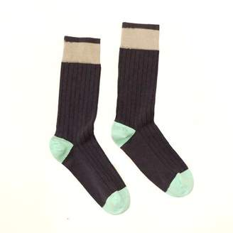 Blade + Blue Solid Charcoal Grey with Mint Blue Tipping Socks