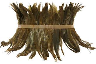 Selva Gold-tone Feather Waist Belt - Green
