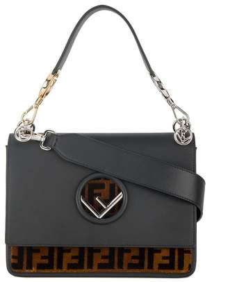 Fendi Black & Brown Leather Kan I F handbag