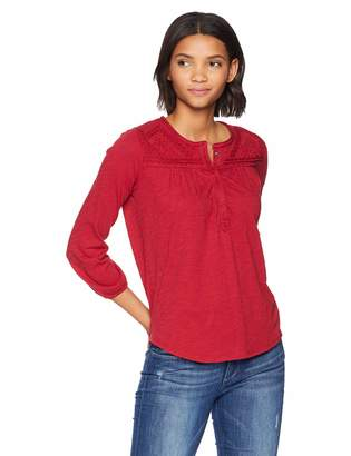 Lucky Brand Women's 3/4 Sleeve Embroidered Top