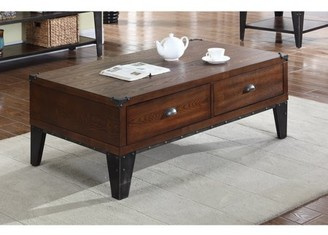 Best Master Furniture Carly Walnut With Black Iron Nail Heads Coffee Table