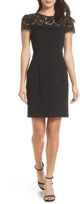 Charles Henry Lace Yoke Sheath Dress