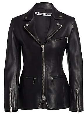 Alexander Wang Women's Leather Moto Zip Jacket - Size 0