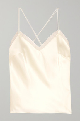 Off-White Halfpenny London - Lenny Organza-trimmed Satin Camisole