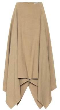 Salvatore Ferragamo Asymmetrical linen and silk skirt