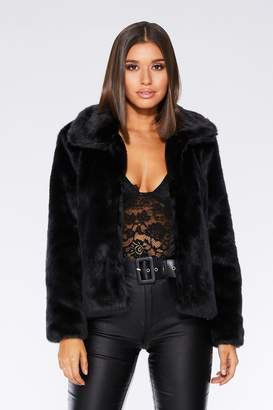 Quiz Black Short Faux Fur Collar Jacket