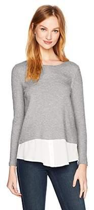 Calvin Klein Women's Ribbed Lurex 2fer Top,L