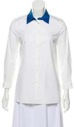 Prada Point Collar Button-Up Blouse