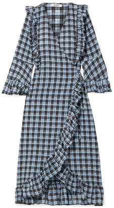 Ganni Charron Ruffled Checked Coated Cotton-blend Seersucker Wrap Dress - Blue