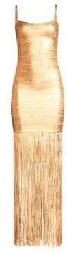 Herve Leger Women's Spaghetti Strap Fringe Bandage Dress - Gold - Size Large