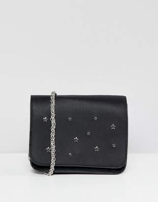 Pull&Bear star studded crossbody bag in Black