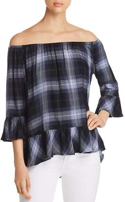 BeachLunchLounge Off-the-Shoulder Plaid Top
