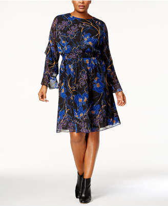 INC International Concepts I.n.c. Plus Size Printed Ruffle-Sleeve Dress, Created for Macy's