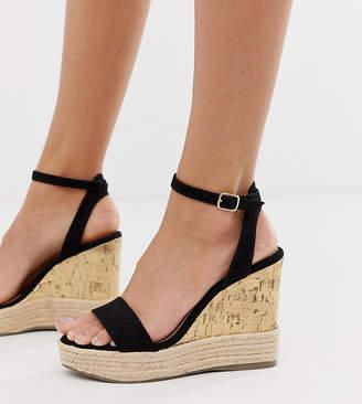 New Look espadrille wedge sandal in black