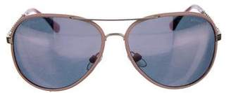 Chanel Leather-Trimmed Chain-Link Aviator Sunglasses