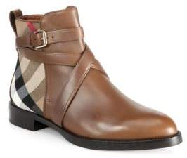 Burberry Vaughn Leather& House Check Booties