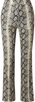 BEIGE we11done - Snake-print Stretch-jersey Flared Pants