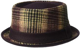 Henschel Men's Wool Blend Plaid Porkpie Hat with Solid Tip and Band