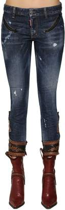 DSQUARED2 Skinny Denim Jeans W/ Leather Details
